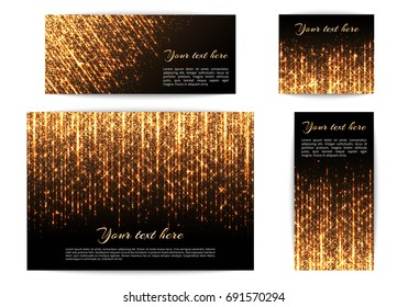 A set of banners for the New Year's decoration with bright lights and golden rays.