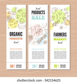 Set of banners with organic vegetables in hand drawn style. Perfect design for farm market advertising and bio product business. Modern business identity for bio products and agricultural industry.