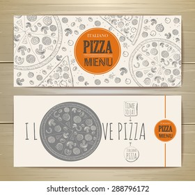 Set of banners with pizza. Sketch illustration