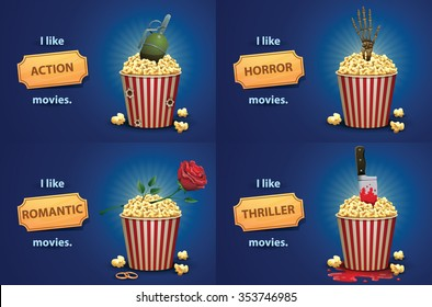 Set of banners with popcorn basket and different elements from different types of movies. Romantic with rose and rings. Action - grenade. Horror - skeleton hand. thriller - knife, blood. vector