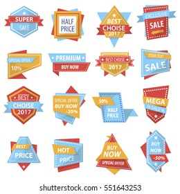 Set of banners for promotion and discount advertising. Super mega sale, Best choise and Hot price. Graphic design element for label, stickers and tags. Vector illustration isolated on white background