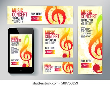 Set of banners for promotion music event. Treble clef illustration with brush strokes and bright colors. Texture watercolor effect. Vector.