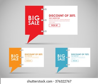 Set of banners with a quote bubble for big sales. Vector illustration.