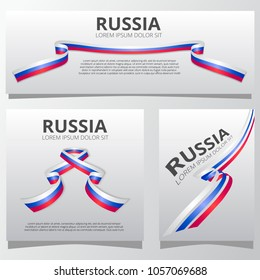Set of banners with russian flag. Independence day of Russia. 12 June. Vector illustration.