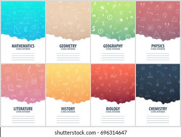 Set of banners school notebook template. Back to School background. Education banner