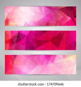 Set of banners with shining romantic pink abstract geometric polygonal pattern