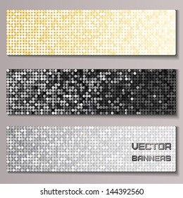 Set of banners with shiny metallic paillettes. Silver, golden, black background. Eps10 vector illustration