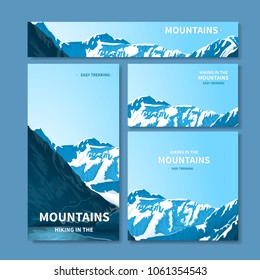 A set of banners, a site header, a business card with a view of the mountains. Rocky mestnost. Horizontal and vertical arrangement with soft shadows. Isolated on a blue background. vector illustration