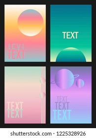 Set of banners space graphic arts gradient.illustrations for website and mobile website social media banners, posters, email and newsletter designs, ads, promotional material. Space, graphic arts, gra
