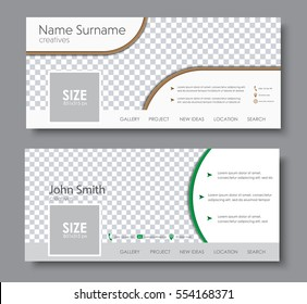 set of banners for the standard size for a social network. Template with space for a photo, contact information, and buttons. Vector illustration.