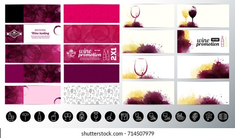 Set of banners with textured wine stains background. Wine icons. Suitable for web banners, cards, invitations, promotion coupons. Vector