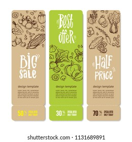 Set of banners with vegetables and greens, hand written lettering. Perfect design for farm market advertising, bio product business. Modern business identity for bio products, agricultural industry.