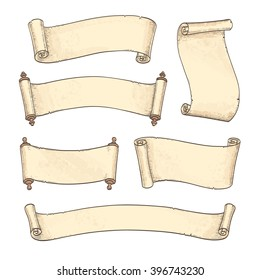 Set of banners. Vintage scrolls isolated on white background. Hand drawn vector illustration.