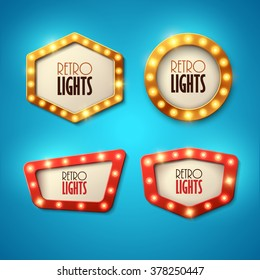 Set of banners in vintage style. Frames with shining lights. Vector illustration.