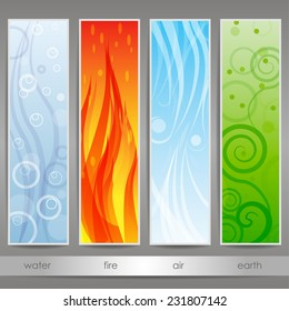set of banners with water, air, fire, earth