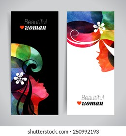 Set of banners with watercolor beautiful girl silhouettes. Vector illustration of woman beauty salon design