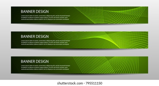 Set of Banners with wavy lines and bright stripes. Geometric Abstract Modern Vector Illustration.Business design templates.