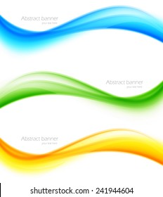 Set of banners in wavy style web design illustration
