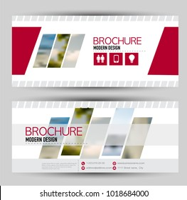 Set of banners for web advertisement or site headers. Print out promotion template. Horizontal flyer handout design. Red color. Vector illustration.