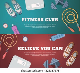 A set of banners for the website with illustrations of sports and fitness.