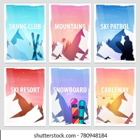 Set banners of Winter Sport. Ski and Snowboard. Mountain landscape. Snowboarder in motion. Vector illustration