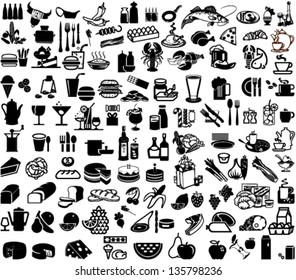 Set of bar and supermarket symbols