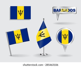 Set of Barbados pin, icon and map pointer flags. Vector illustration.