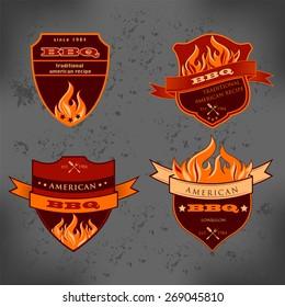 Set of Barbecue BBQ logo, stamp, retro poster, food menu design