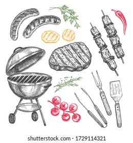 Set of barbecue elements drawn in vector. For the design of the menu of cafes and restaurants, shop windows related to the theme of grilled food.