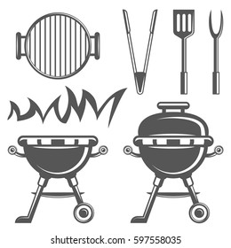Set of barbecue and grill icons in monochrome style. Design elements for logo, label, emblem.
