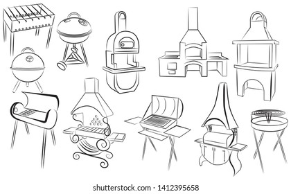 Set of barbecue grills. Collection of braziers. Black and white illustration. Linear art.