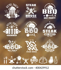 Set of barbecue labels, badges, and design elements. White print on blurred background