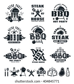 Set of barbecue labels, badges, and design elements. Black print on white background