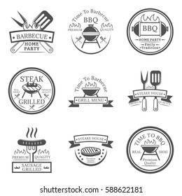 Set of barbecue in monochrome style logos, emblems, labels and badges. Set of vector templates isolated on white background