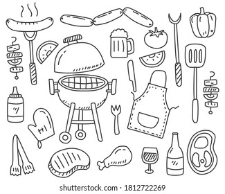 Set of Barbecue party doodle elements vector illustration isolated on white background