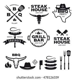 Set of barbecue steak house grill bar labels badges emblems and design elements. Bbq party poster. Grilled sausage on the fork. Cow skull. Cowboy hat. Vector vintage illustration.