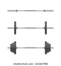 Set of barbells with different weights. Weightlifting equipment. Vector illustration in flat style isolated on white background