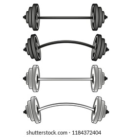 Set of barbells in monochrome style. Vector illustration.