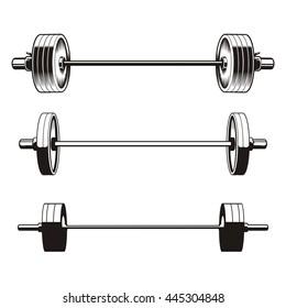 Set of barbells, vector illustration