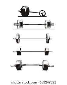 set of barbells, vector illustration
