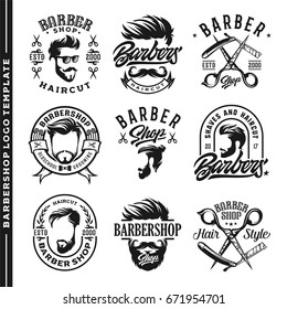 Set Barber shop Logo template