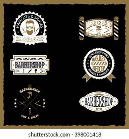 Set of barber shop vintage emblems