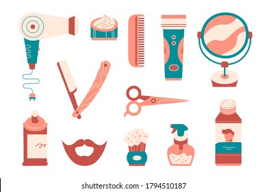 Set of barber tools and hair care products, barbershop equipment isolated on white. Hair dryer, scissors, mirror, spray bottle, straight razor, hair clipper, comb. Flat cartoon vector illustration.