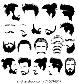 Set of barbershop images. Mustaches, beards, fashionable haircuts and hairstyles for barbershop clients. Vector Illustration