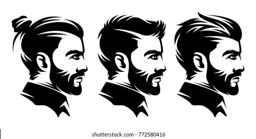 set barbershop men hairstyle illustrations from the side
