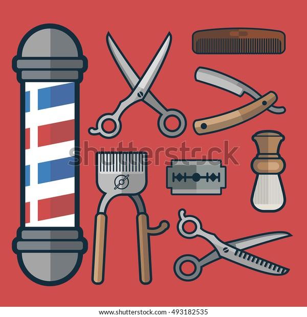set of barbershop tools in flat vector style