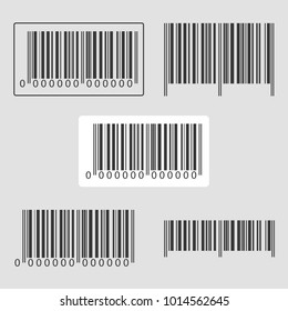 Set barcode icon. A modern simple barcode. Internet concept of market trading. Cartoon clipart. Vector illustration.