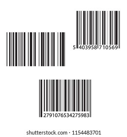 Set of barcode and number icon. Vector illustration.