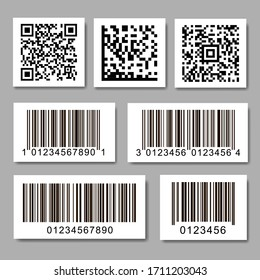 Set of barcode stickers. QR code label collection.