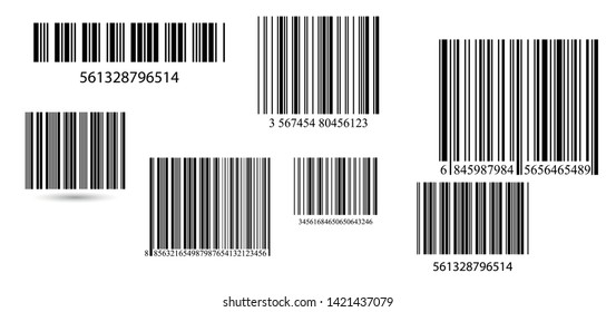 Set of barcodes.  Barcode label vector.  A modern simple flat barcode. Marketing, the concept of the Internet.